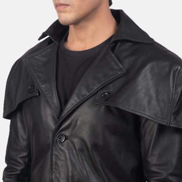 Deux Black Leather Duster