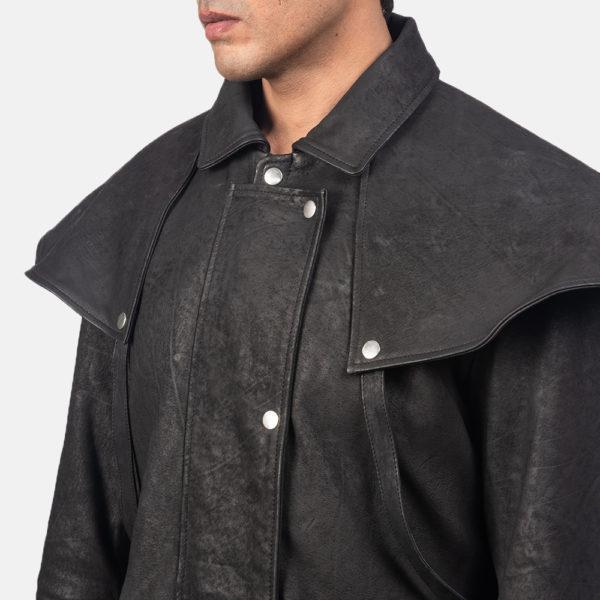 Maverick Black Leather Duster