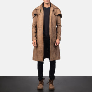Army Brown Leather Duster