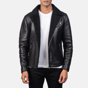 Alberto Shearling Black Leather Jacket