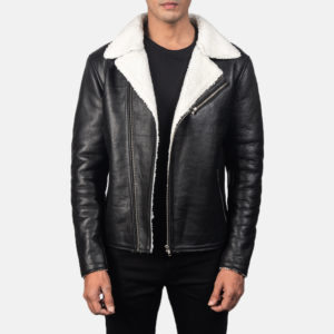 Alberto White Shearling Black Leather Jacket