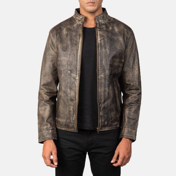 Alex Distressed Brown Leather Biker Jacket