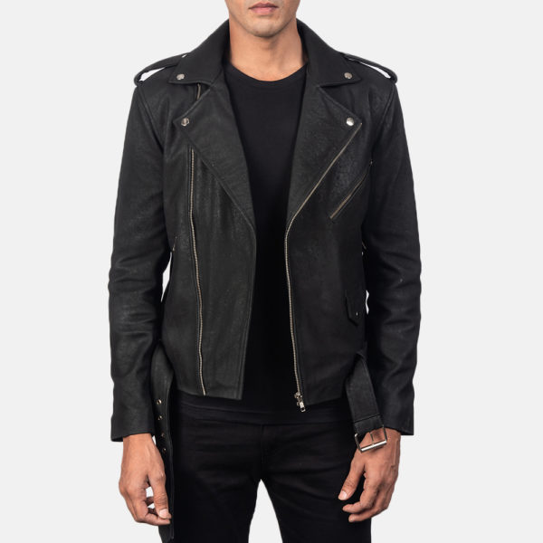 Allaric Alley Distressed Black Leather Biker Jacket