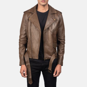 Allaric Alley Mocha Leather Biker Jacket