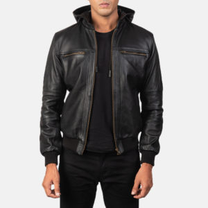 Bouncer Biz Black Leather Bomber Jacket