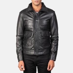 Columbus Black Leather Bomber Jacket