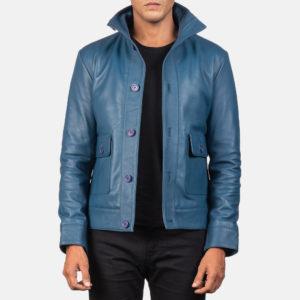 Columbus Blue Leather Bomber Jacket