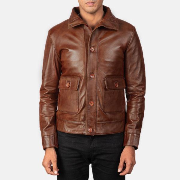 Columbus Brown Leather Bomber Jacket