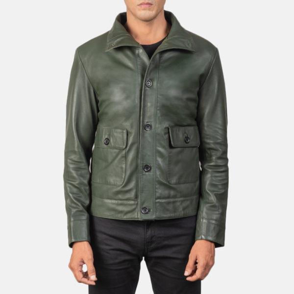 Columbus Green Leather Bomber Jacket