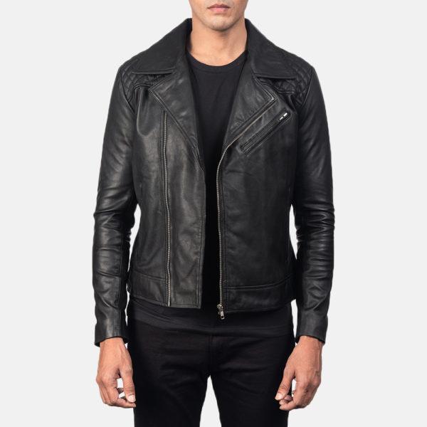 Danny Quilted Black Leather Biker Jacket