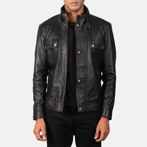 Darren Black Leather Biker Jacket