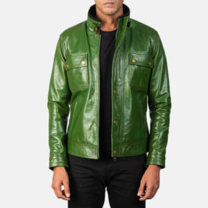 Darren Distressed Green Leather Biker Jacket