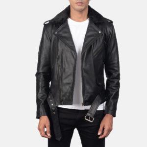 Furton Black Leather Biker Jacket
