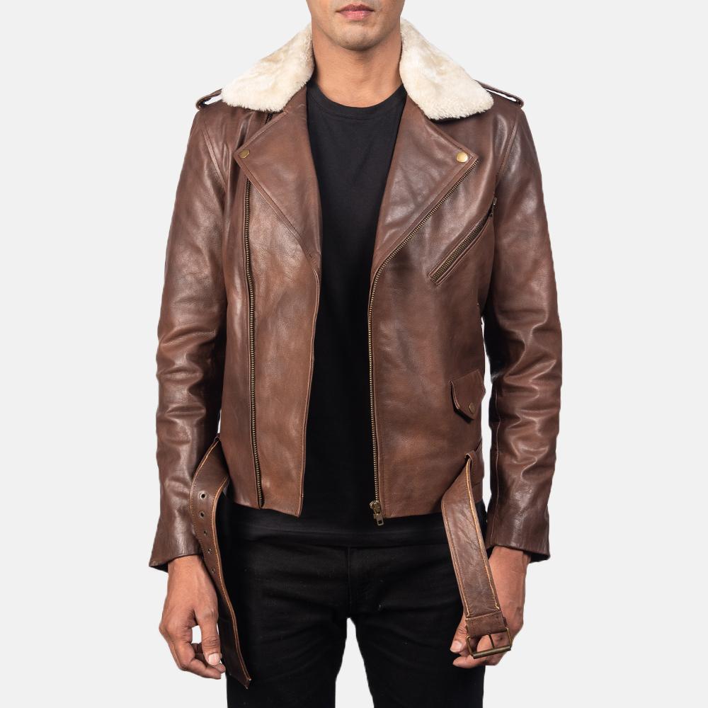 Furton Brown Leather Biker Jacket