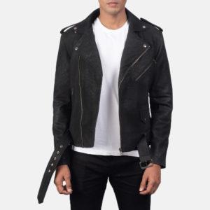Furton Disressed Black Leather Biker Jacket