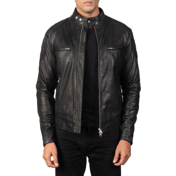 Gatsby Black Leather Biker Jacket