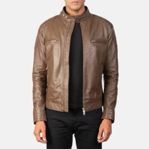 Gatsby Mocha Leather Biker Jacket