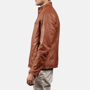 Ionic Brown Leather Biker Jacket