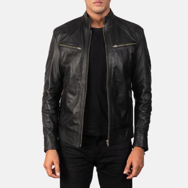 Mack Black Leather Biker Jacket