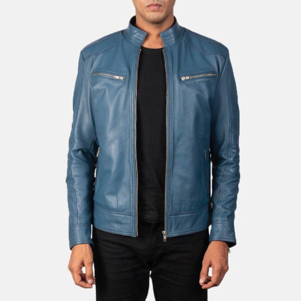 Mack Blue Leather Biker Jacket