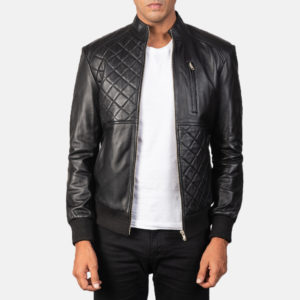 Moda Black Leather Bomber Jacket