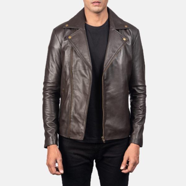 Noah Brown Leather Biker Jacket
