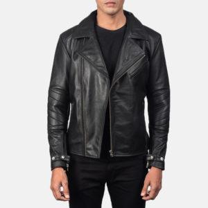 Raiden Black Leather Biker Jacket