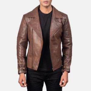 Raiden Brown Leather Biker Jacket