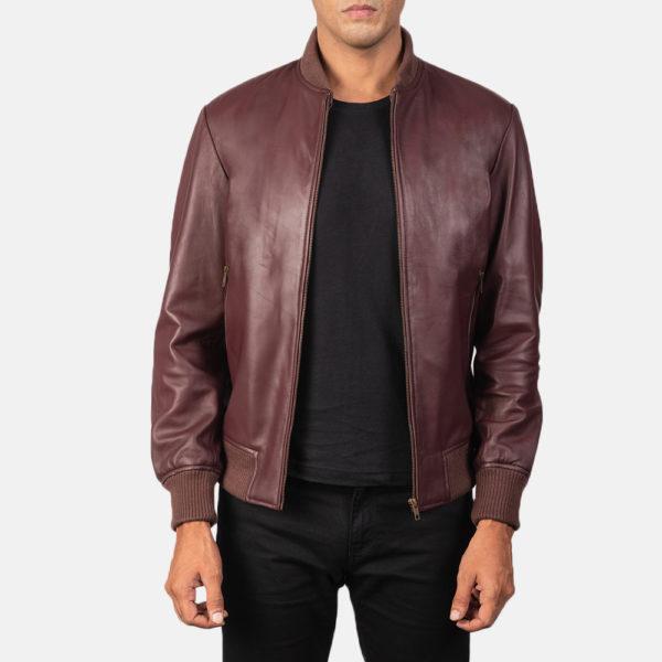 Shane Maroon Leather Bomber Jacket