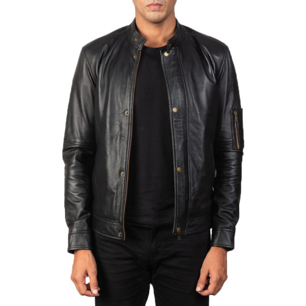 Tea House Black Leather Biker Jacket