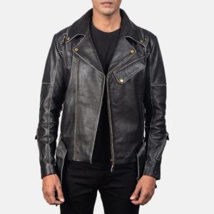 Vincent Black Leather Biker Jacket