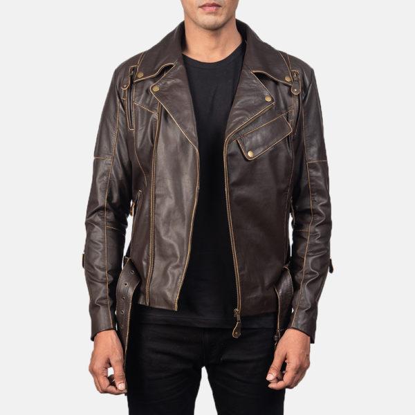 Vincent Brown Leather Biker Jacket