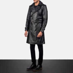 Royson Black Leather Duster Coat