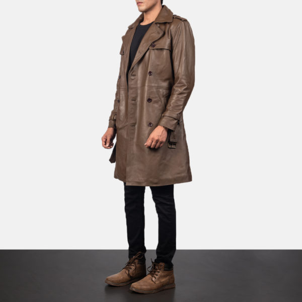 Royson Brown Leather Duster Coat