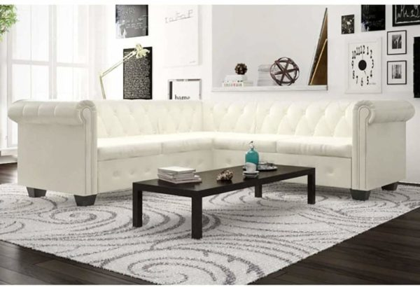 L Shaped Chesterfield Corner White Sofa Couch 1