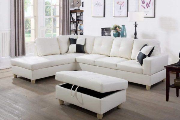 LifeStyle 3PC White Sectional Sofa Set 1
