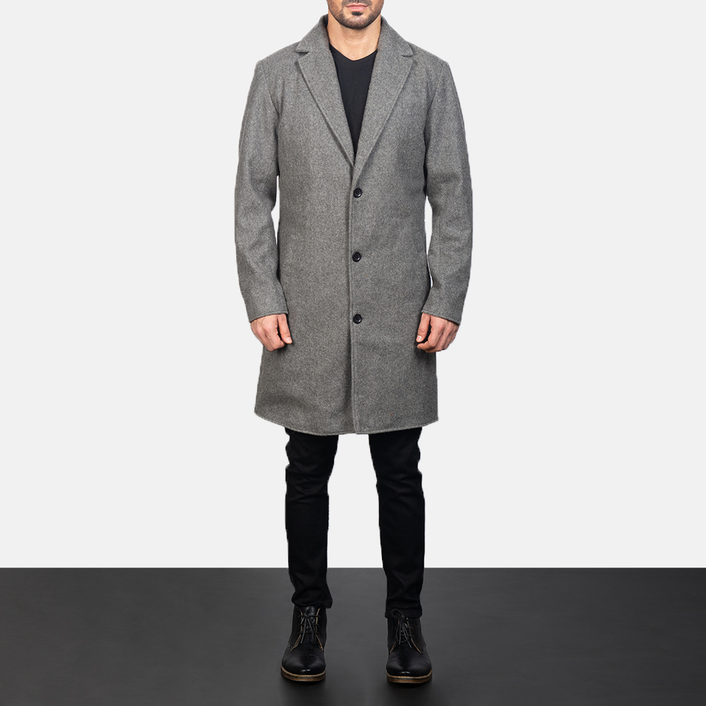 Black Petrillo Coat with a single-breasted front