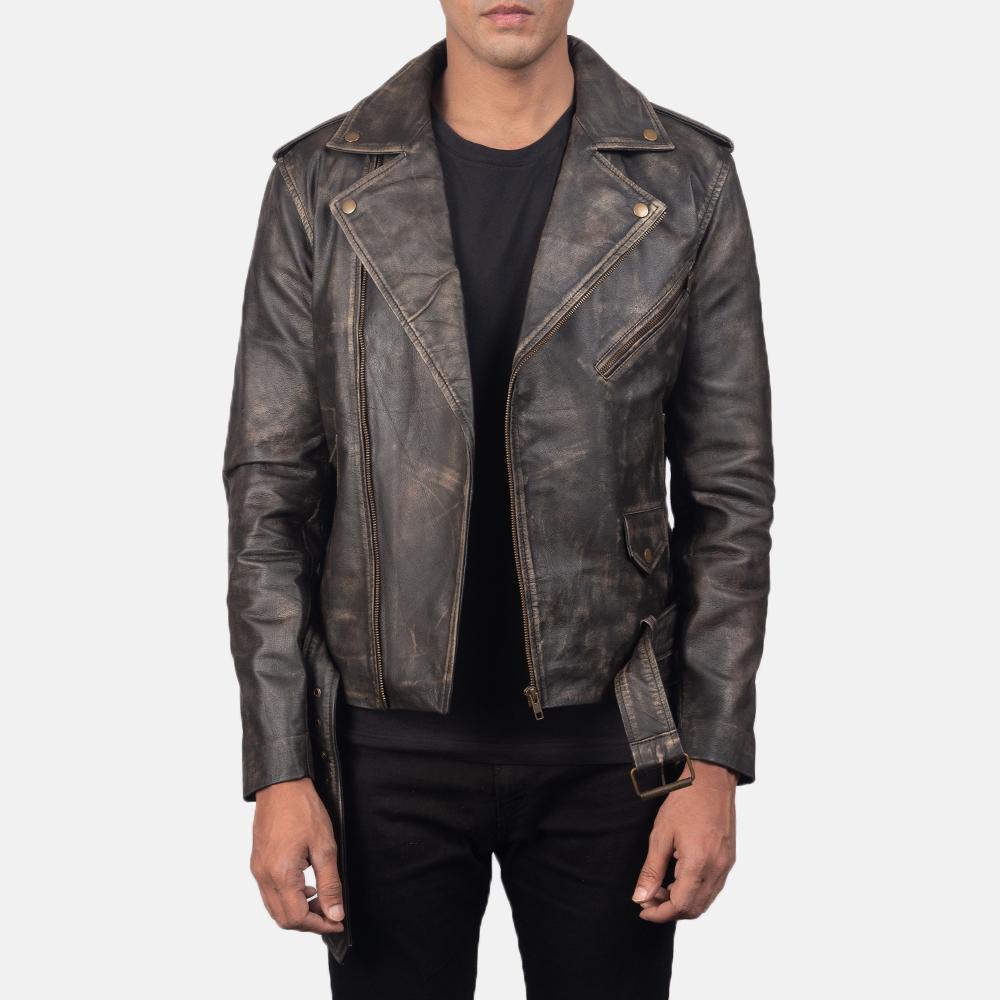 Distressed Brown Leather Biker Jacket
