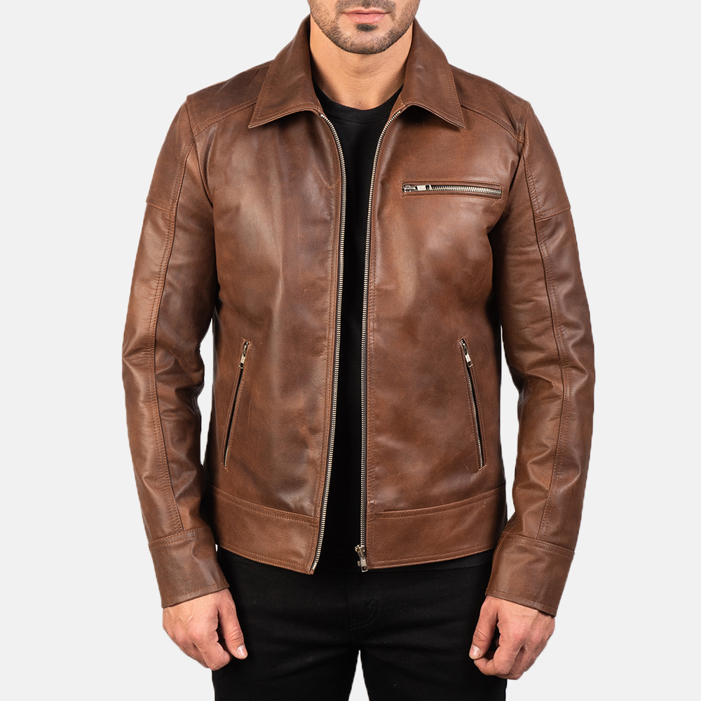 Lavendard Brown Leather Biker Jacket For Men
