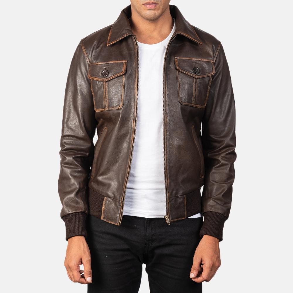 Men's Aaron Brown Leather Bomber Jacket